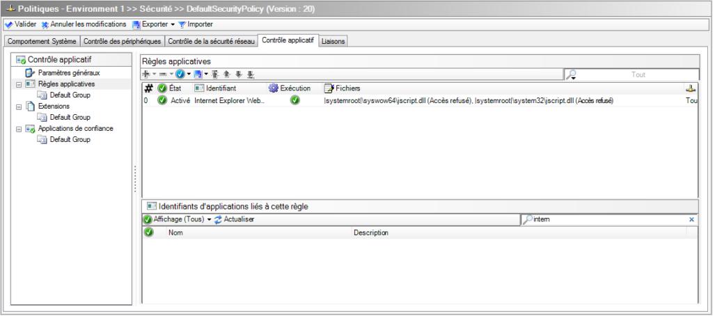 Stormshield Endpoint Security: créer une règle applicative pour interdire tout accès au composant jscript.dll